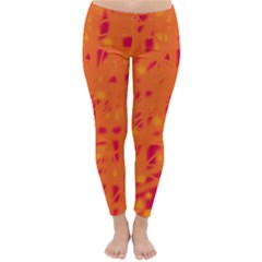 Orange Winter Leggings  by Valentinaart
