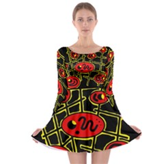 Red And Yellow Hot Design Long Sleeve Skater Dress by Valentinaart