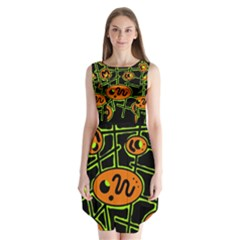 Orange And Green Abstraction Sleeveless Chiffon Dress   by Valentinaart