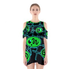 Green And Blue Abstraction Cutout Shoulder Dress by Valentinaart