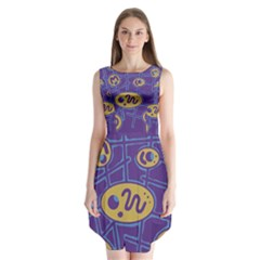 Purple And Yellow Abstraction Sleeveless Chiffon Dress   by Valentinaart