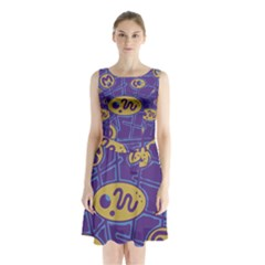 Purple And Yellow Abstraction Sleeveless Chiffon Waist Tie Dress by Valentinaart