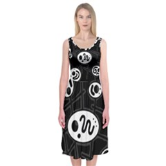 Black And White Crazy Abstraction  Midi Sleeveless Dress by Valentinaart