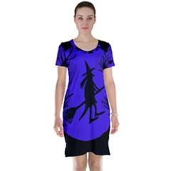 Halloween Witch   Blue Moon Short Sleeve Nightdress by Valentinaart