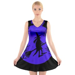 Halloween Witch   Blue Moon V Neck Sleeveless Skater Dress by Valentinaart