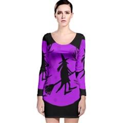 Halloween Witch   Purple Moon Long Sleeve Velvet Bodycon Dress by Valentinaart