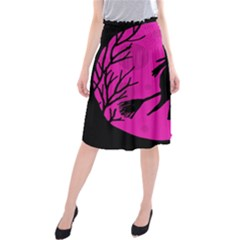 Halloween Witch   Pink Moon Midi Beach Skirt by Valentinaart
