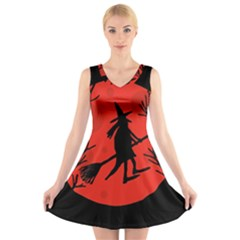 Halloween Witch   Red Moon V Neck Sleeveless Skater Dress by Valentinaart