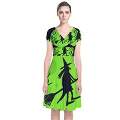 Halloween Witch   Green Moon Short Sleeve Front Wrap Dress