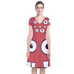 Halloween Frankenstein   Red Short Sleeve Front Wrap Dress by Valentinaart