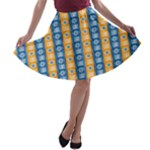Gold and Blue Ashanti Stripes A-line Skater Skirt