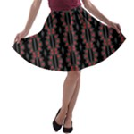Red Black and Grey Matrix Dot Pattern A-line Skater Skirt
