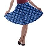 Blue Matrix Dot Pattern A-line Skater Skirt
