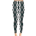 Black White and Teal Cowrie Pattern Leggings