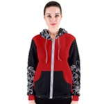Black and Red Silver Boss Lady Design Women s Zipper Hoodie