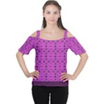 Colorful purple Kente Pattern2 Women s Cutout Shoulder Tee