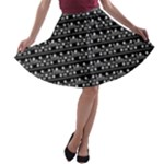 Black and White Tribal Geo A-line Skater Skirt