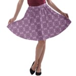 Purple African Circle Pattern A-line Skater Skirt
