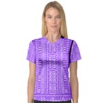 Violet And White Mudcloth Bodycon Dress Women s V-Neck Sport Mesh Tee