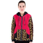 Tan Brown and Black Tribal Leopard Design Women s Zipper Hoodie