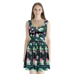 Modern Green And Pink Leaves Split Back Mini Dress  by DanaeStudio