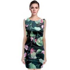 Modern Green And Pink Leaves Classic Sleeveless Midi Dress by DanaeStudio