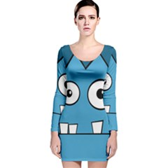 Halloween Frankenstein   Blue Long Sleeve Velvet Bodycon Dress by Valentinaart