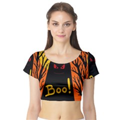 Halloween Monster Short Sleeve Crop Top (tight Fit) by Valentinaart