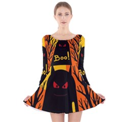 Halloween Monster Long Sleeve Velvet Skater Dress by Valentinaart