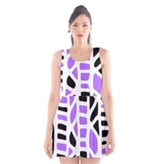 Purple Abstract Decor Scoop Neck Skater Dress by Valentinaart