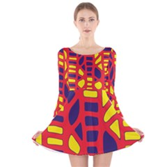 Red, Yellow And Blue Decor Long Sleeve Velvet Skater Dress by Valentinaart