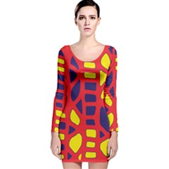Red, Yellow And Blue Decor Long Sleeve Velvet Bodycon Dress by Valentinaart