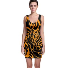 Orange And Black Sleeveless Bodycon Dress by Valentinaart