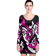 Magenta, Black And White Decor Long Sleeve Bodycon Dress by Valentinaart