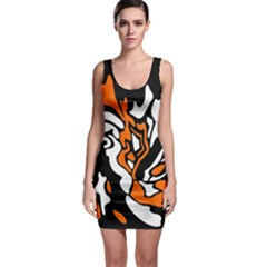 Orange, White And Black Decor Sleeveless Bodycon Dress by Valentinaart