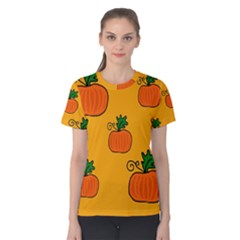 Thanksgiving Pumpkins Pattern Women s Cotton Tee by Valentinaart