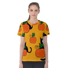 Halloween Pumpkins And Cats Women s Cotton Tee by Valentinaart