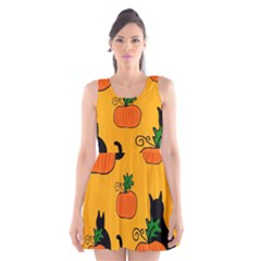 Halloween Pumpkins And Cats Scoop Neck Skater Dress by Valentinaart