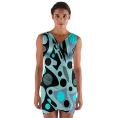Cyan Blue Abstract Art Wrap Front Bodycon Dress by Valentinaart