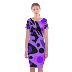 Purple Abstract Decor Classic Short Sleeve Midi Dress by Valentinaart