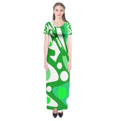 White And Green Decor Short Sleeve Maxi Dress by Valentinaart