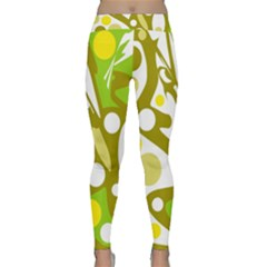 Green And Yellow Decor Yoga Leggings  by Valentinaart