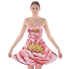 Large Flower Floral Pink Girly Graphic Strapless Dresses by CraftyLittleNodes