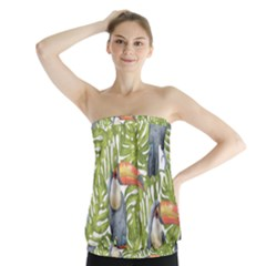 Tropical Print Leaves Birds Toucans Toucan Large Print Strapless Top by CraftyLittleNodes