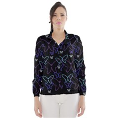 Blue Neon Butterflies Wind Breaker (women)