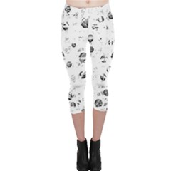 White And Gray Soul Capri Leggings  by Valentinaart