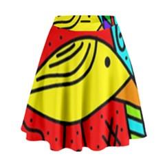 Yellow Bird High Waist Skirt by Valentinaart
