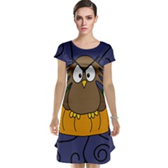 Halloween Owl And Pumpkin Cap Sleeve Nightdress by Valentinaart