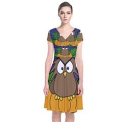 Halloween Owl And Pumpkin Short Sleeve Front Wrap Dress by Valentinaart