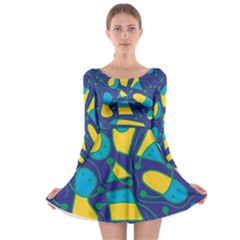 Playful Abstract Art   Blue And Yellow Long Sleeve Skater Dress by Valentinaart